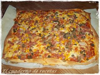 Pizza con masa de cerveza