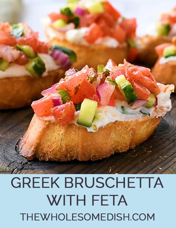 Greek Bruschetta With Feta - This great appetizer recipe is toasted bread topped with a creamy feta spread and topped with crunchy veggies coated in Greek vinaigrette.