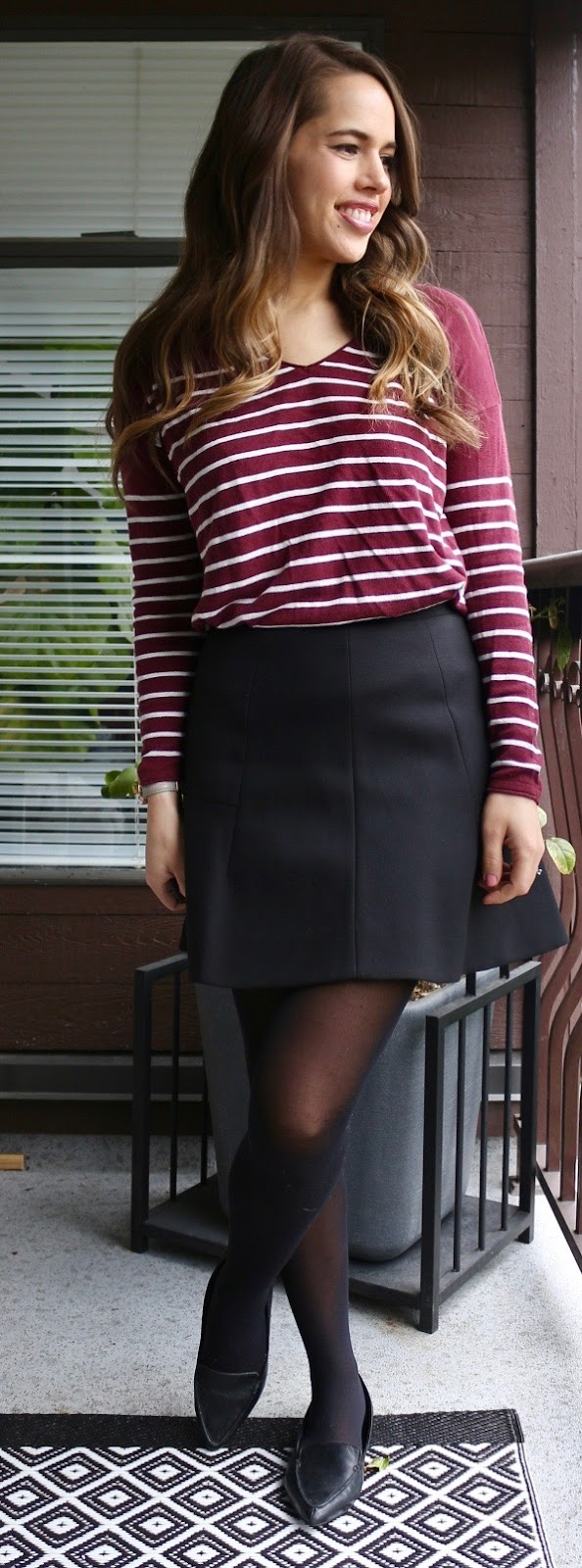Jules in Flats - Burgundy Stripe Sweater and Black Skater Skirt