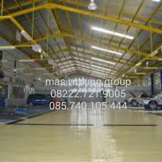 Jasa floor hardener trowel epoxy bengkel showroom dealer