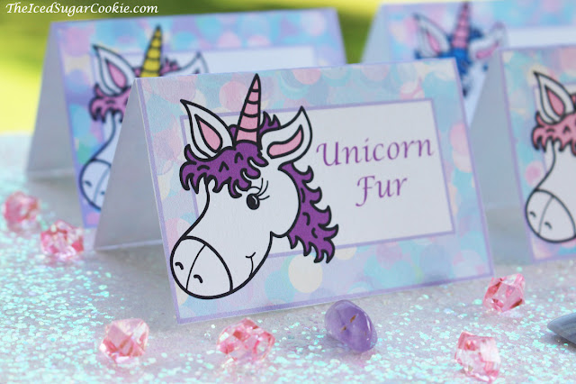 DIY Unicorn Birthday Party Food Label Tent Cards Idea-Printable Template Digital Download