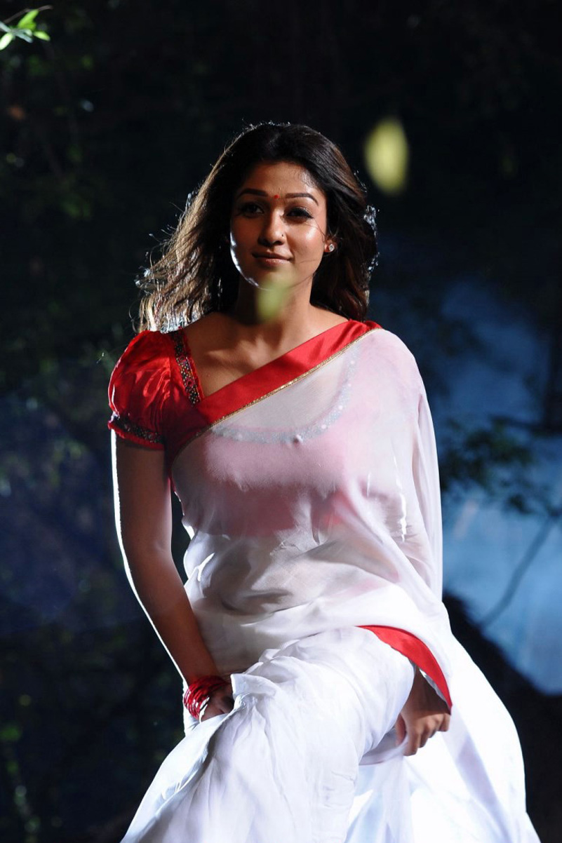 Nayantara Hot Navel Show Stills In White Saree From Kvj -7789