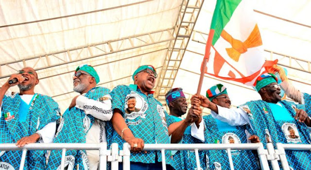 Aregbesola, Akeredolu, Akala, Tinubu and Ajimobi at a rally where Akala joined the APC in Ibadan