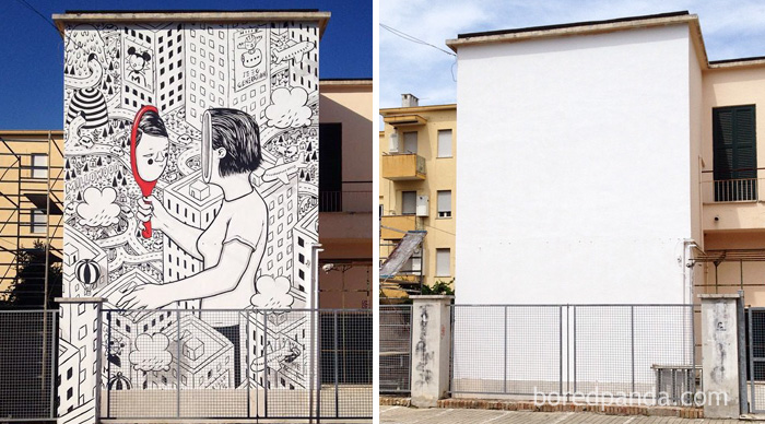 10+ Incredible Before & After Street Art Transformations That'll Make You Say Wow - A Wall For Memorie Urbane Festival In Gaeta, Italy