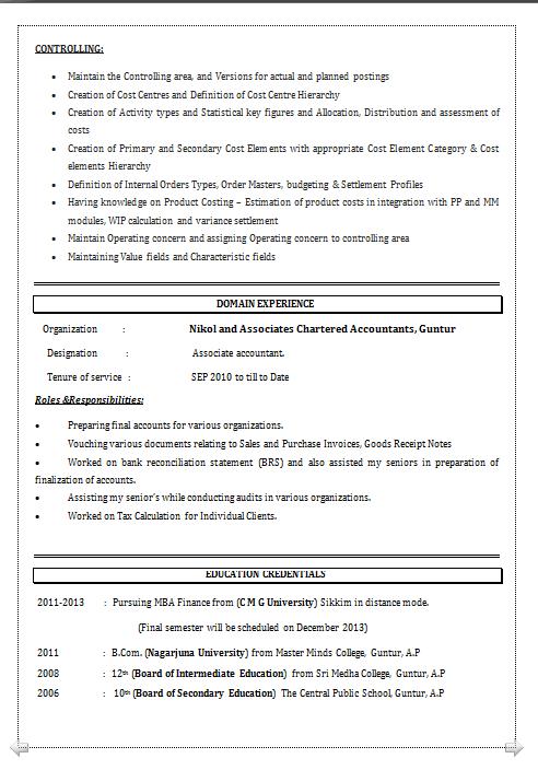 Dynamic Resume Resume Format For Sap Fico