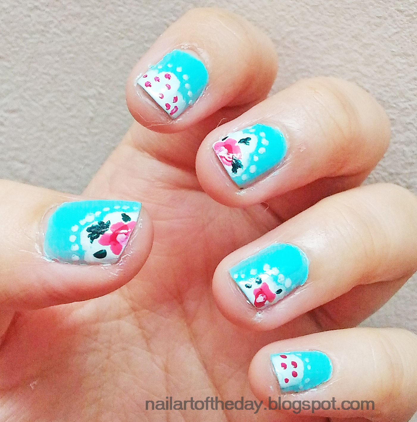 What a wonderful world shabby chic blue nail art - Nail art chic ...