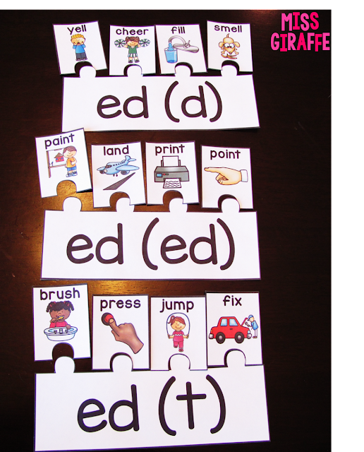 Sounds of ed puzzles and ideas for teaching the 3 sounds of -ed