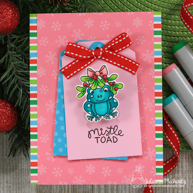Wobble Toad Christmas Card by Juliana Michaels featuring Newton's Nook Designs Mistle Toad Stamp Set