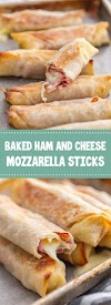 Baked Ham and Cheese Mozzarella Sticks #bakedham #mozzarellasticks