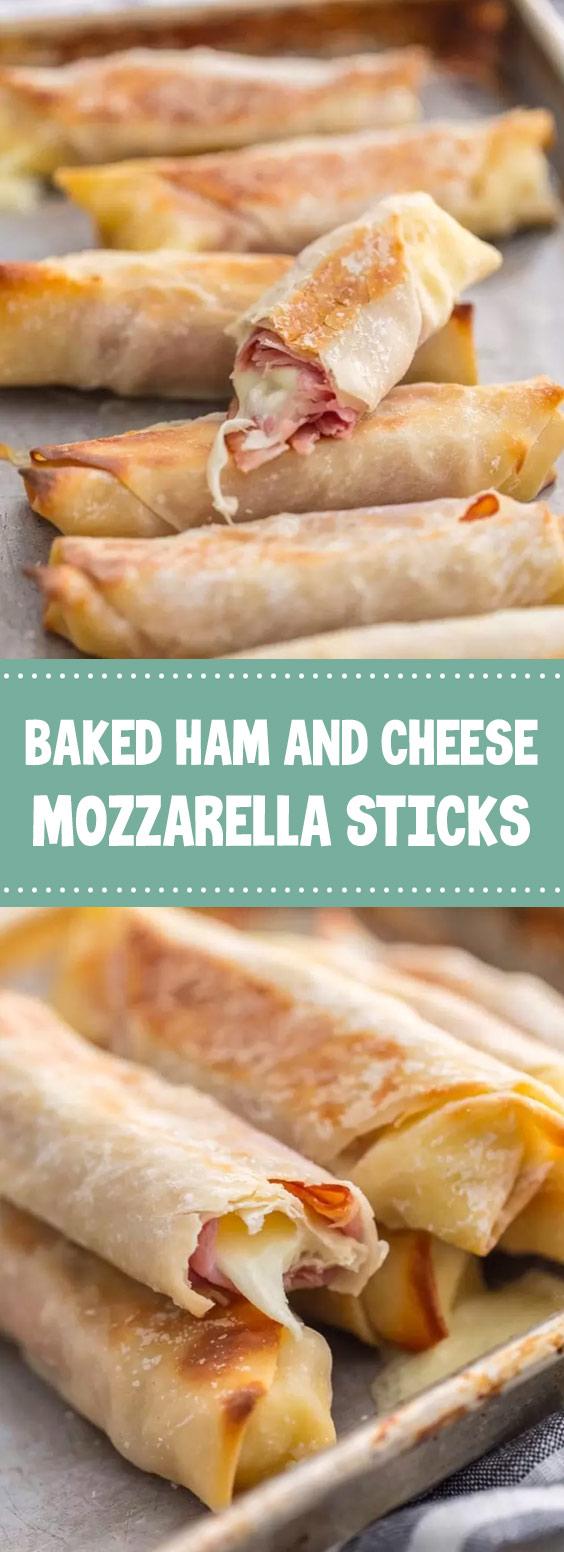 Baked Ham and Cheese Mozzarella Sticks #bakedham #mozzarellasticks