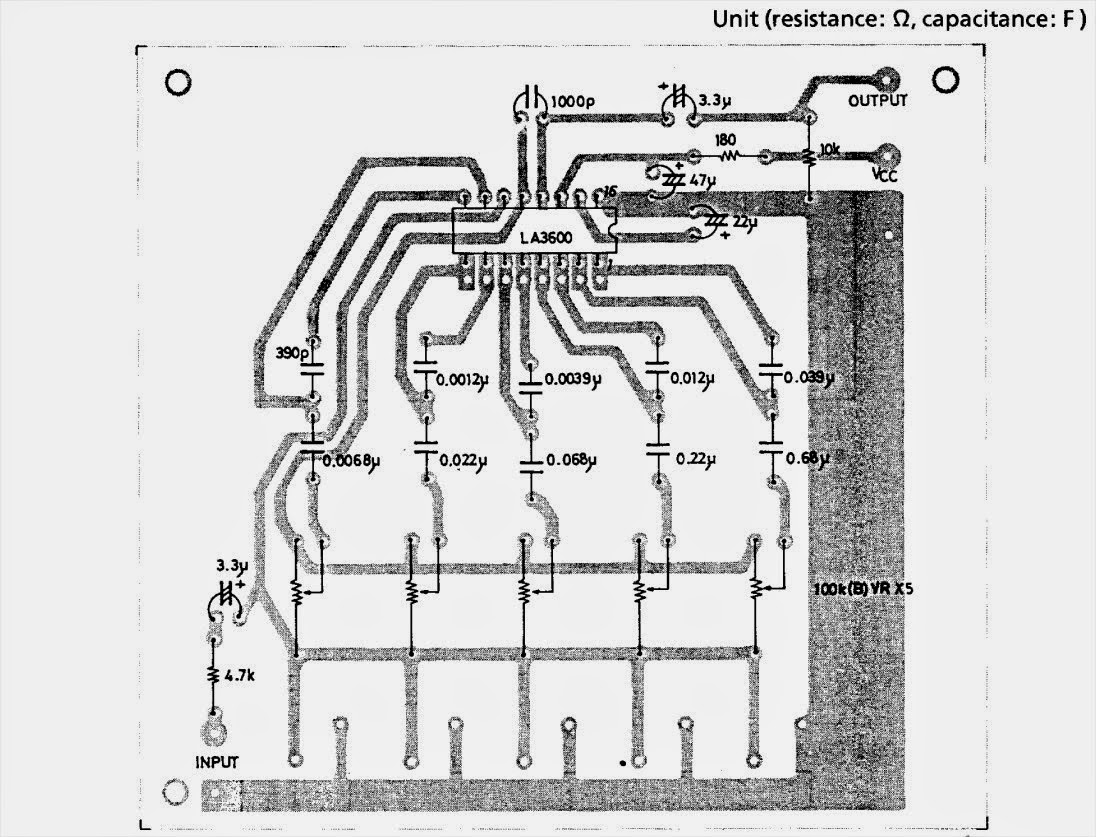 Schematic 5 Band Graphic Equaliser Circuit With La And Pcb