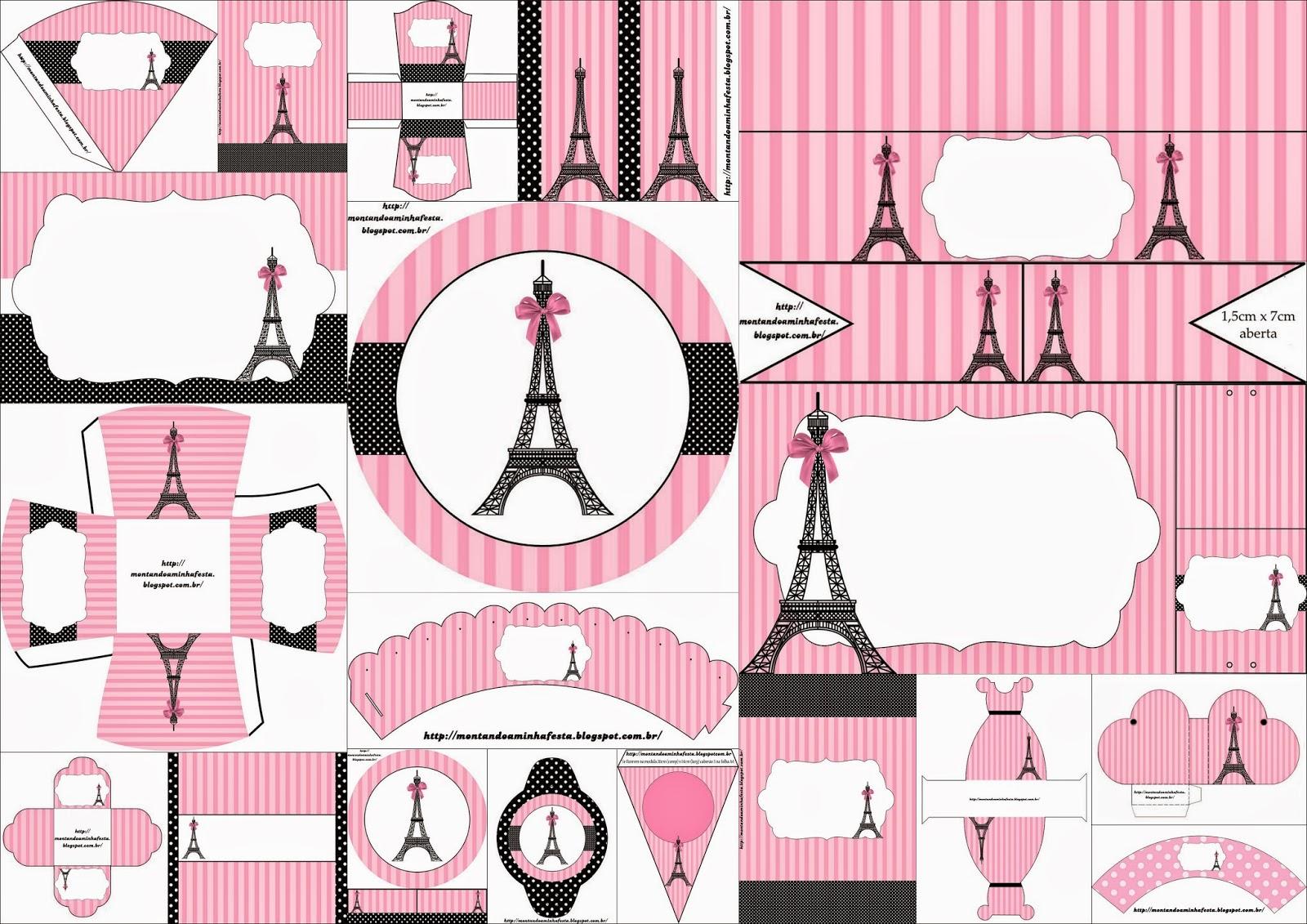 Kit para Quince Años con el Tema París para Imprimir Gratis.
