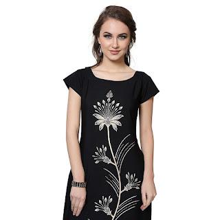 BUY NOW Flower Print Black Ziyaa Kurti
