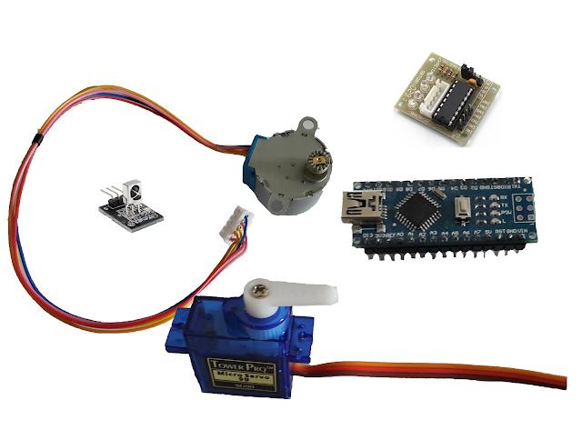 Arduino + Servo Motor + Stepper Motor + IR Receiver