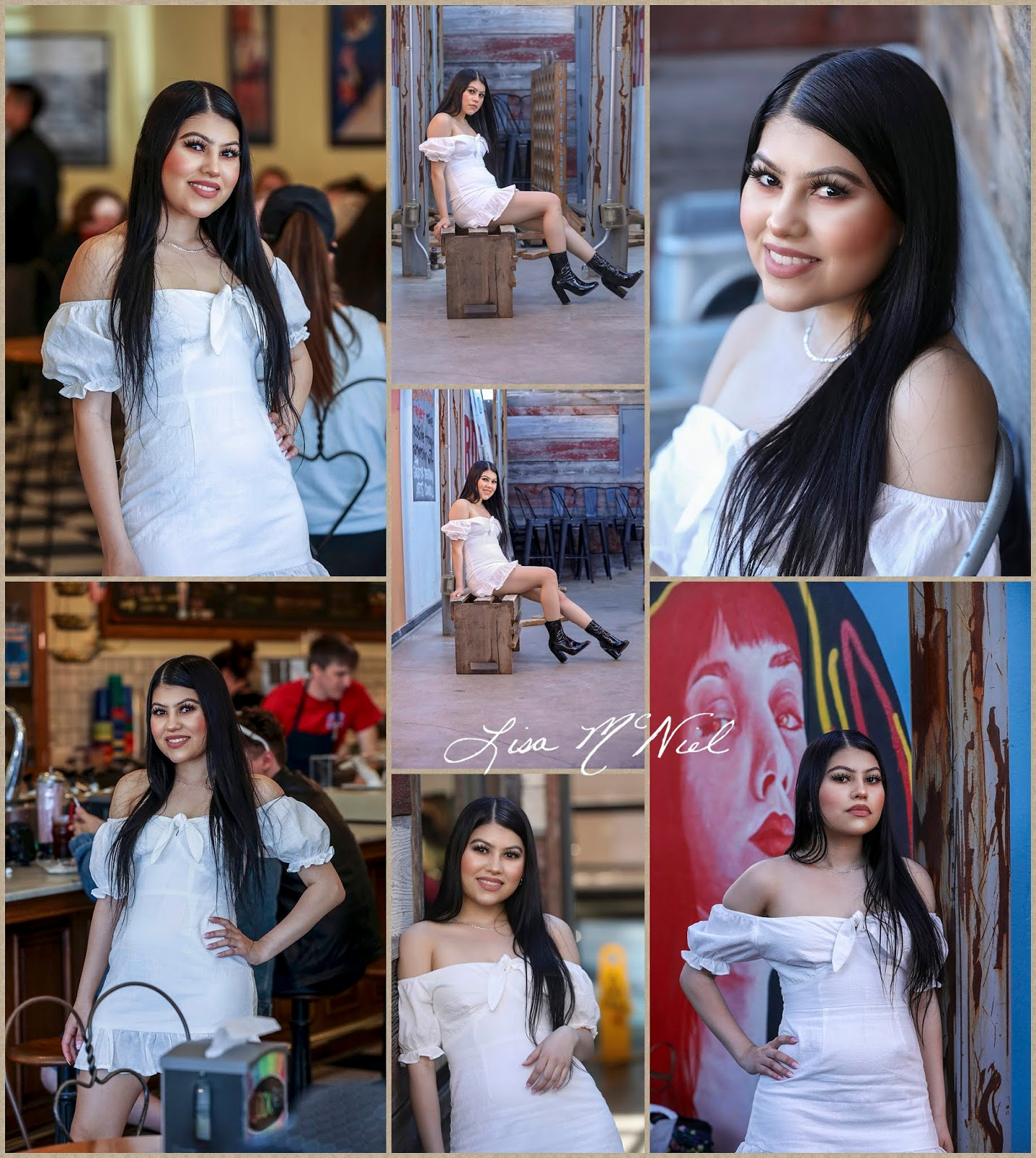 teen girl in white dress in rustic open air restaurant