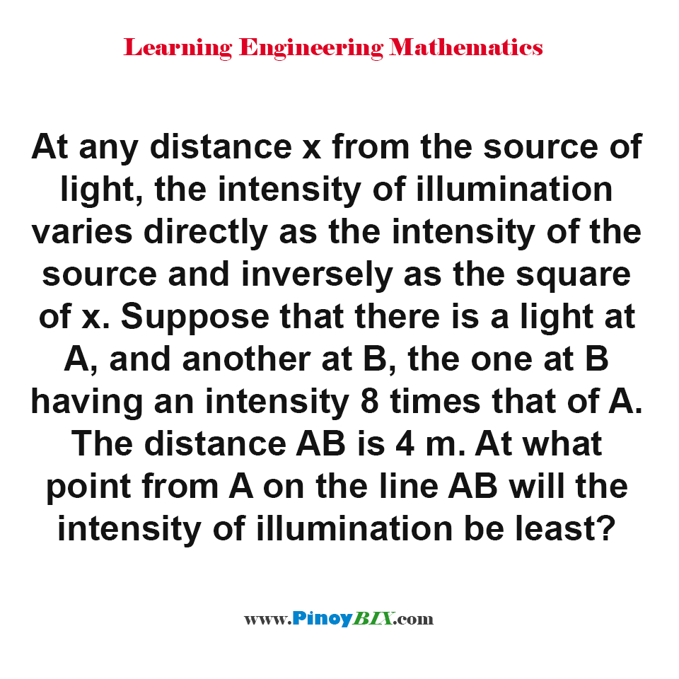 At what point from A on the line AB will the intensity of illumination be least?