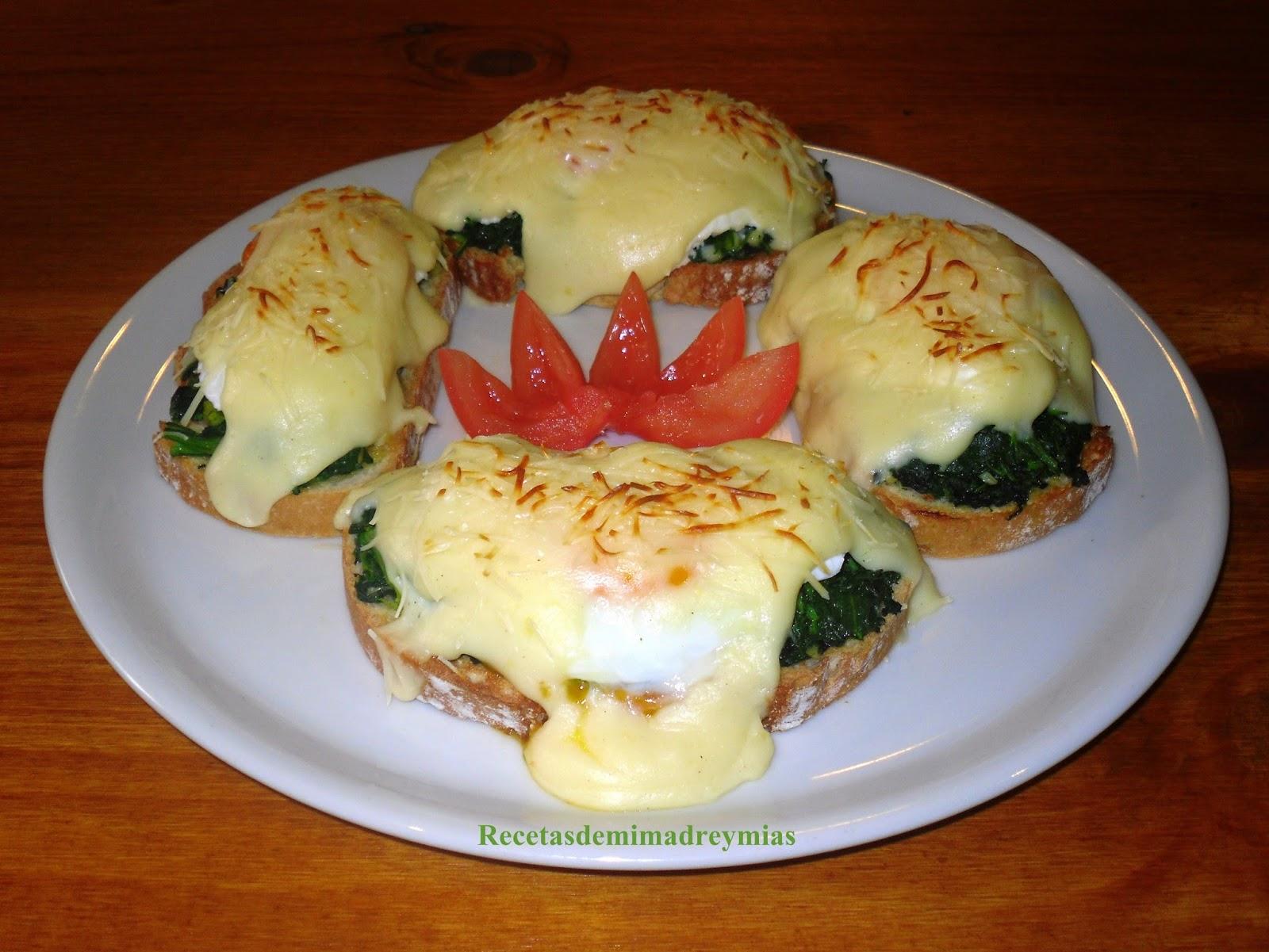 Recetas de mi madre y mias tostas con huevos y espinacas for Maneras de cocinar espinacas