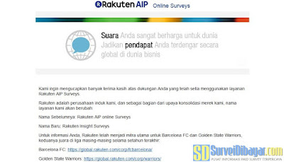 Email dari Rakuten Insight Surveys | SurveiDibayar.com