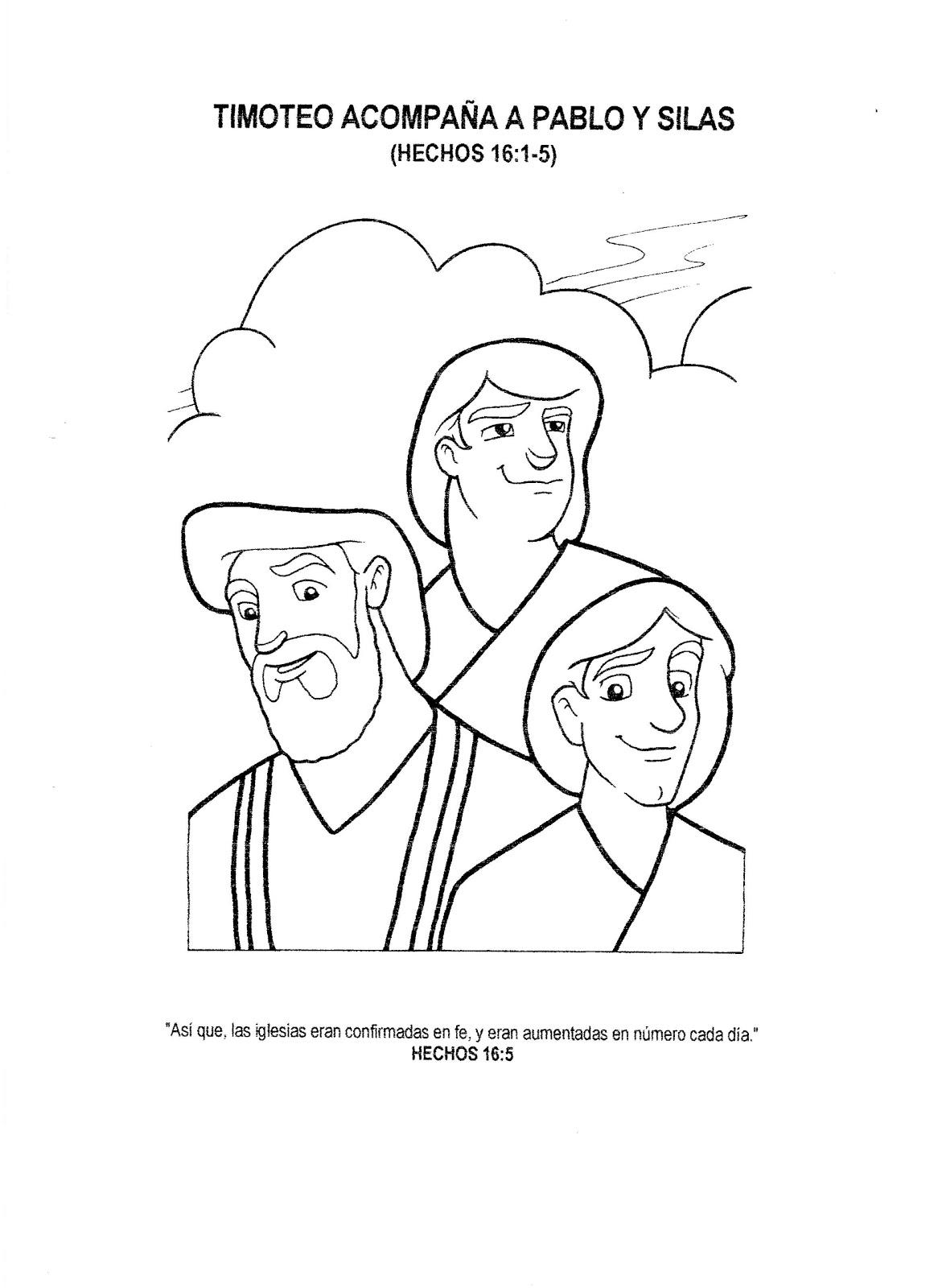 Dibujos Cristianos: Timoteo acompaña a Pablo y Silas para