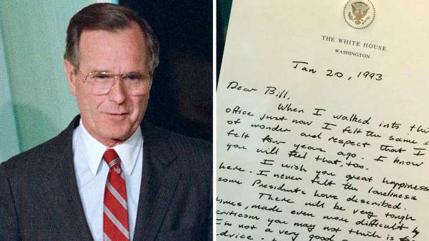 The letter George Bush wrote to Bill Clinton is a lesson in grace