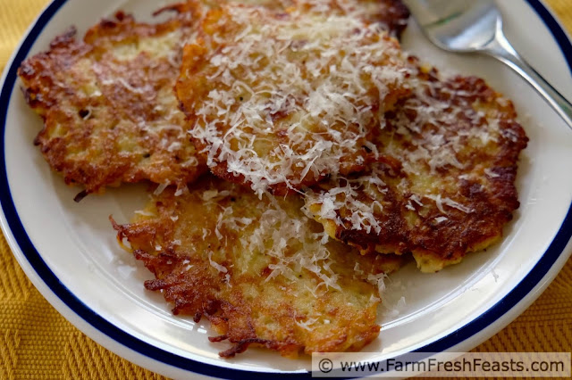 Shredded turnips flavored with freshly grated parmesan cheese and crispy bacon, bound up in these savory fritters, make an excellent dinner side dish or brunch entree.