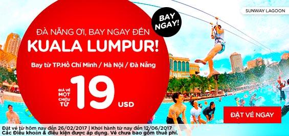 Vé máy bay Đà Nẵng đi Kuala lumpur 19 USD