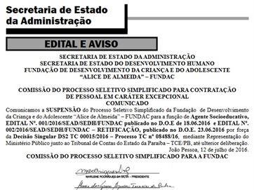 Estado publica suspensão de processo para contratar 400 agentes socioeducativos
