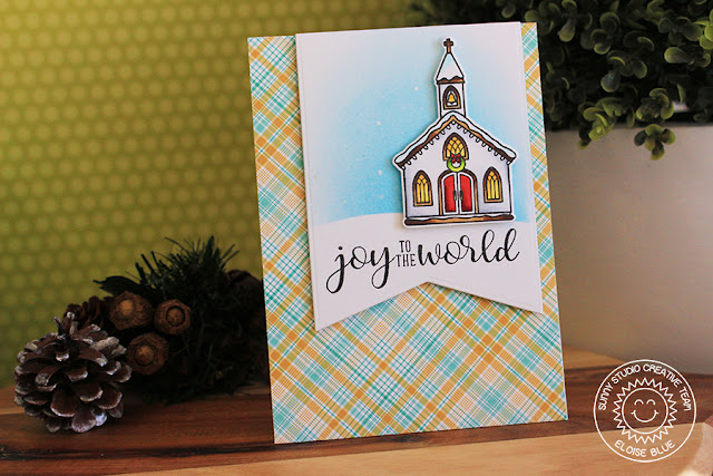Sunny Studio Stamps: Christmas Chapel Banner Christmas Card by Eloise Blue