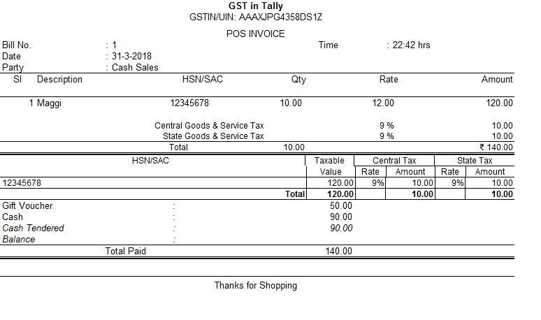 How to Create GST Taxable POS Invoice in Tally?