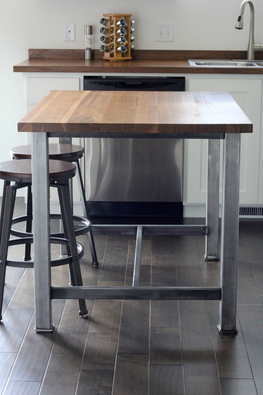 industrial chairs target beach with umbrella butcher block countertop kitchen reveal - lou girls