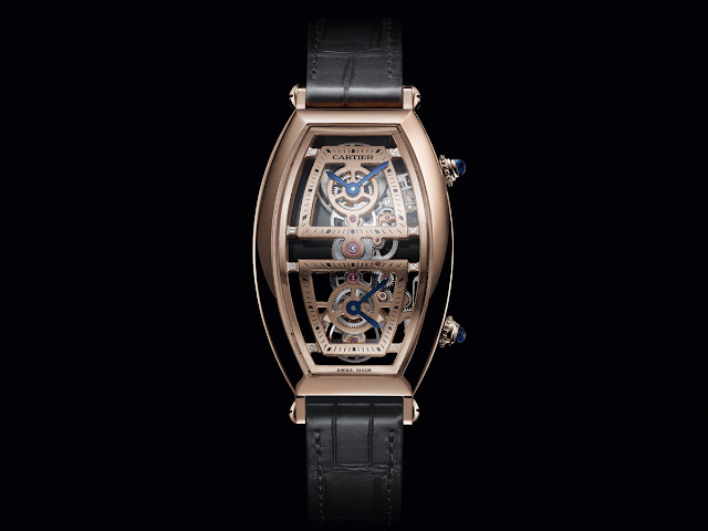 Cartier Privé Collection, Tonneau watches 2019. Skeleton dual time model in pink gold.