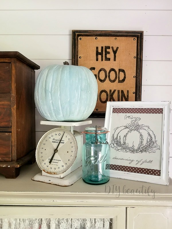 fall vignette in blue and white