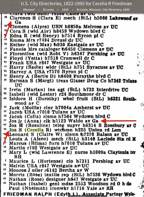 joseph friedman clarence friedman clara friedman cecilia friedman anna friedman st louis city directory 1943