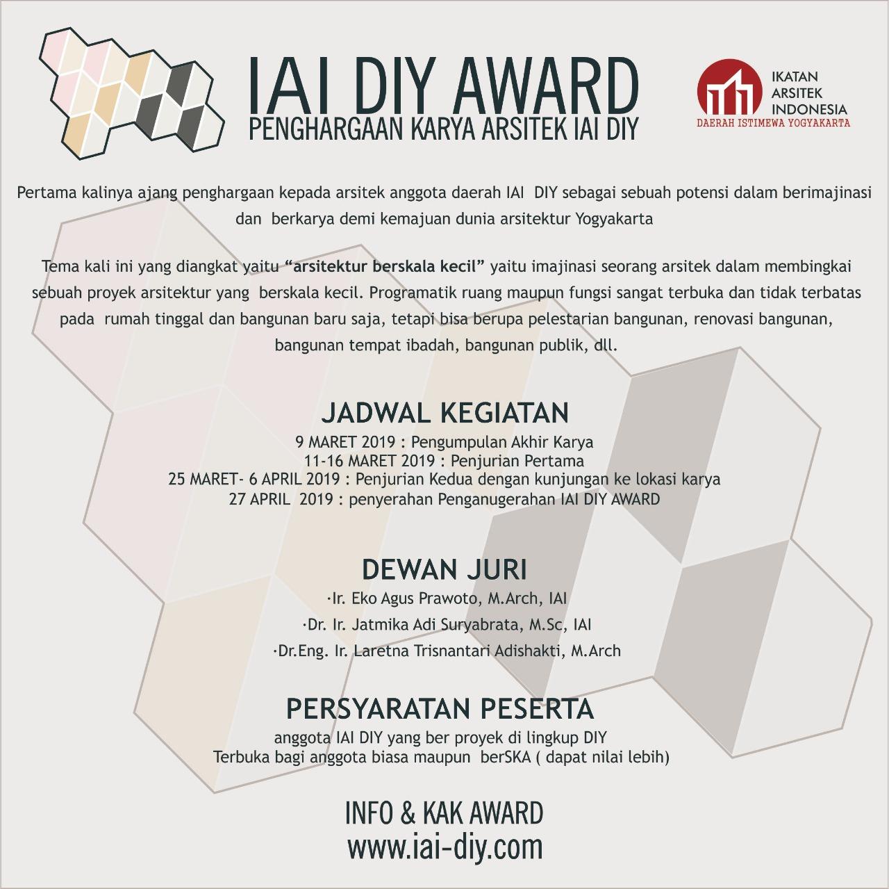 AWARD IAI DIY AWARD Penghargaan Karya Arsitek IAI DIY 2019 IAI DIY