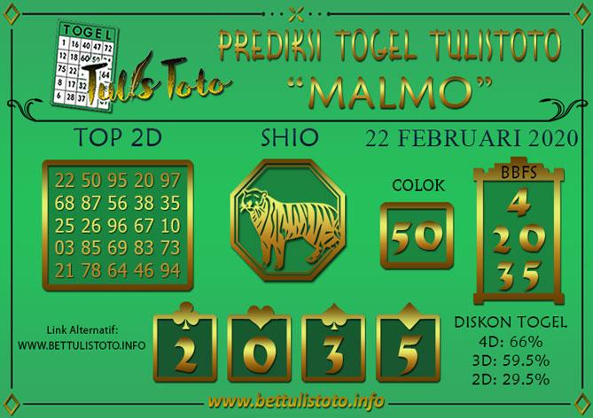 Prediksi Togel MALMO TULISTOTO 22 FEBRUARI 2020