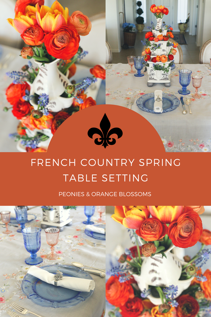 A French Country Spring Table Setting - Table is Perfect for Tea Parties, Birthday Parties, Spring Parties, Outdoor Summer Parties.