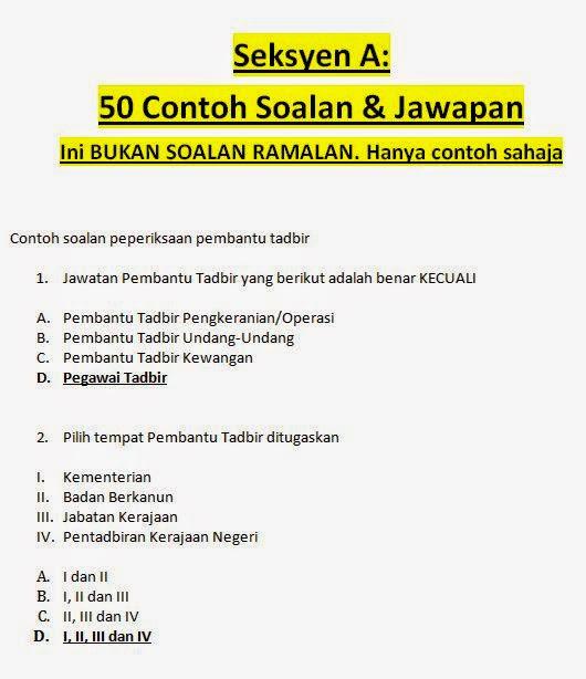 Contoh Soalan Temuduga Pegawai Tadbir N41 - Selangor a