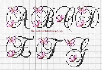 Abecedario punto de cruz mariposas