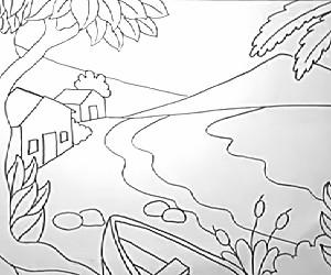 cara+menggambar+pantai