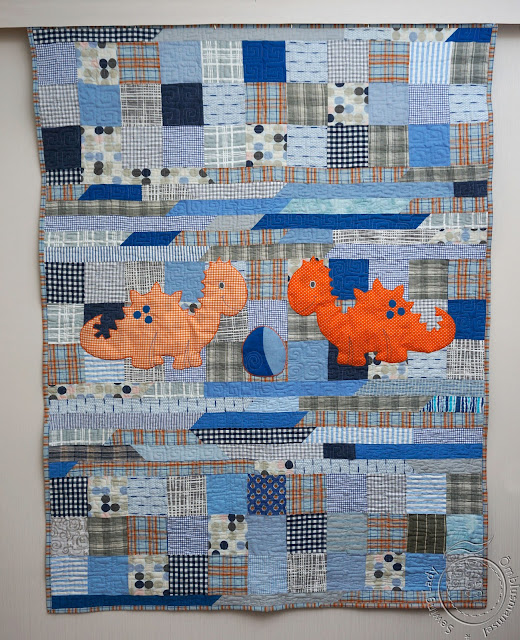 dino quilt, patchwork quilt for boys