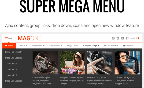 Super Mega Menu - MagOne - Magazine Blogger Template