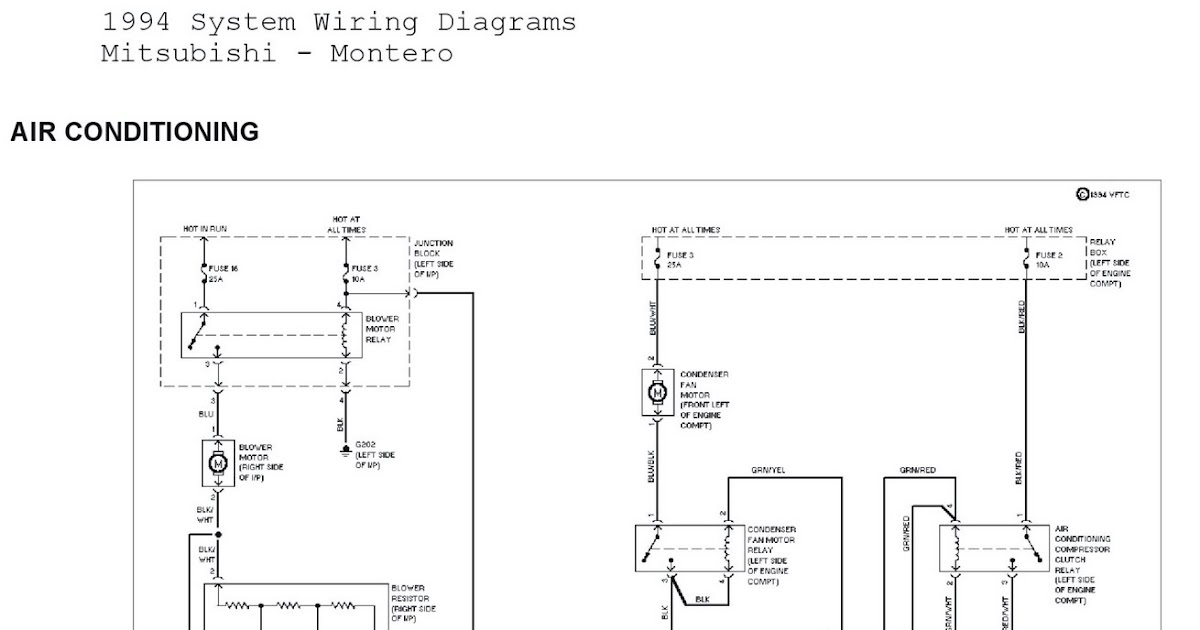 1994 Mitsubishi Montero System Wiring Diagrams Air