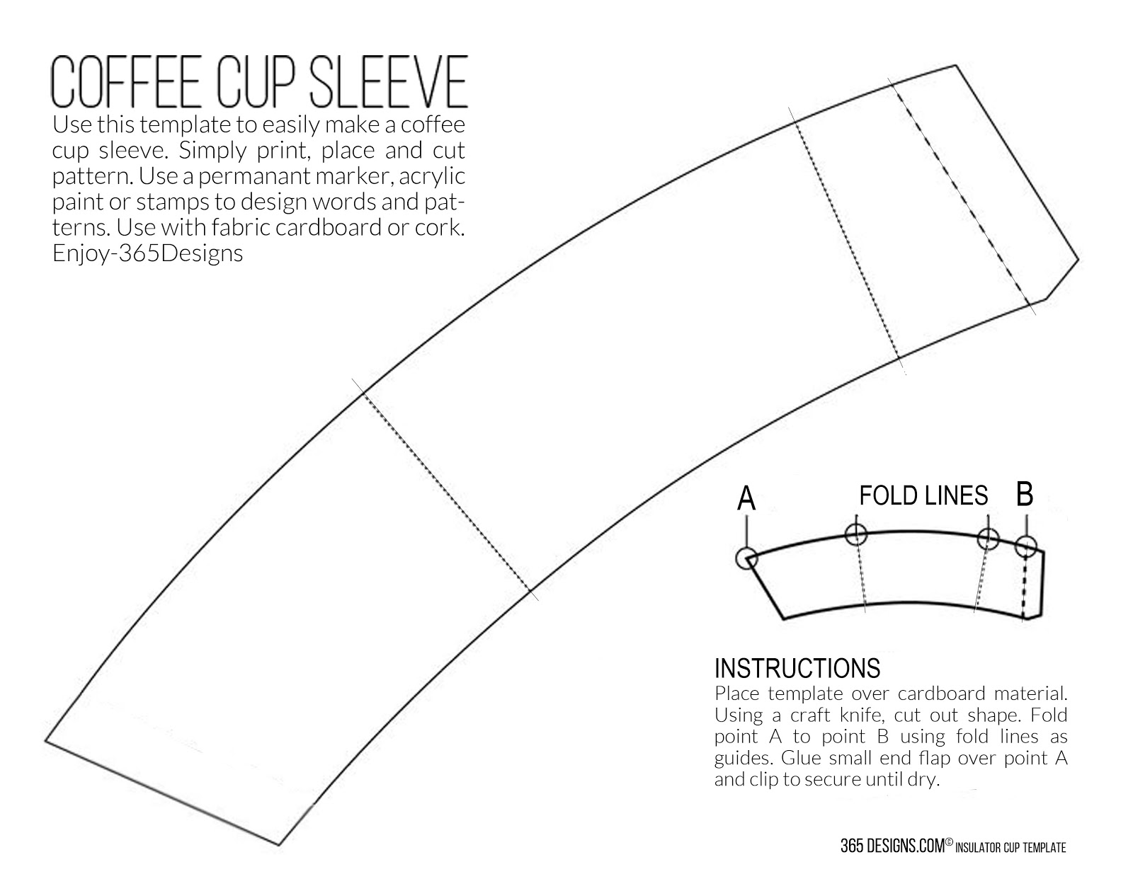 Create DIY Coffee Cozy Sleeves printable template McCafe Starbucks