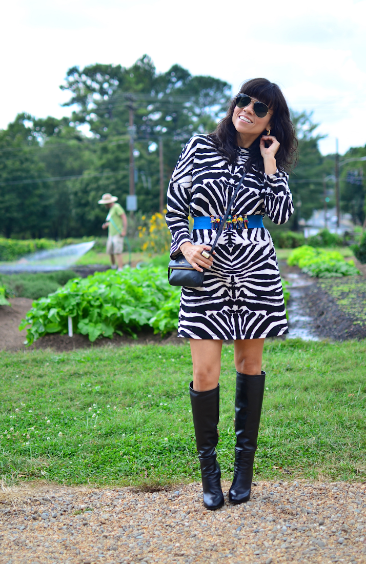 Black and White Printed Dress Outfit