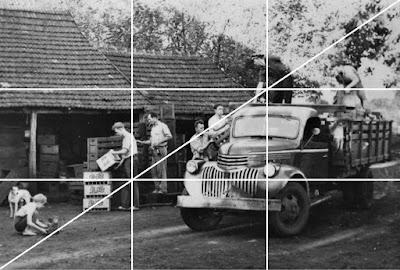A análise gráfica da fotografia demonstra o senso de proporção dos terços e que a ação se desenvolve numa diagonal.