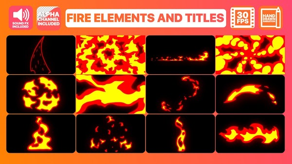 Fire Elements And Titles - Motion Graphics Templates