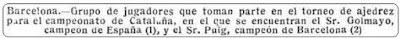 Pie de foto con los nombres de los participantes en el III Campeonato de Barcelona 1914