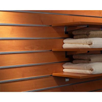 Tấm gỗ slatwall panels cài rãnh nhôm T trưng bày cho showroom, cửa hiệu - 221327