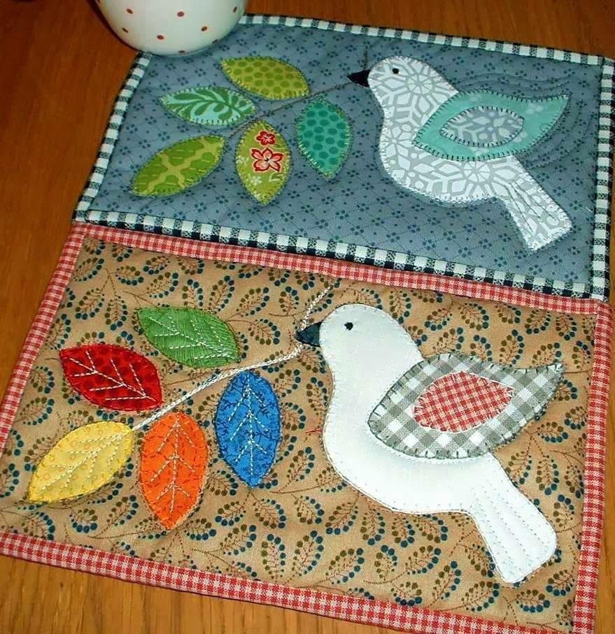 Winter Dove And Russian Doll Mug Rugs