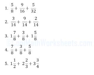Fractions Addition Worksheet